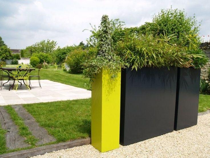 jardinières de design étroit et haut en jaune et gris foncé