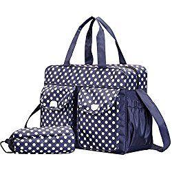 Ecokaki Multifunction Shoulder Bag Backpack Baby Diaper Bag 3 Pieces Set, Blue Polka Dot