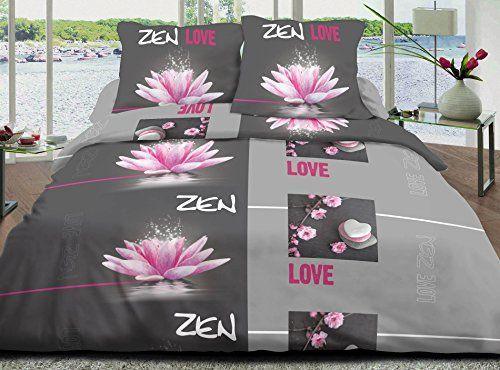 Housse De Couette 220x240 2 Taies Pur Coton 57 Fils Love Zen