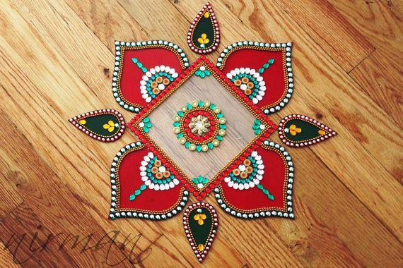 Rhinestone art Diwali decor Bollywood inspired Acrylic by Nirman