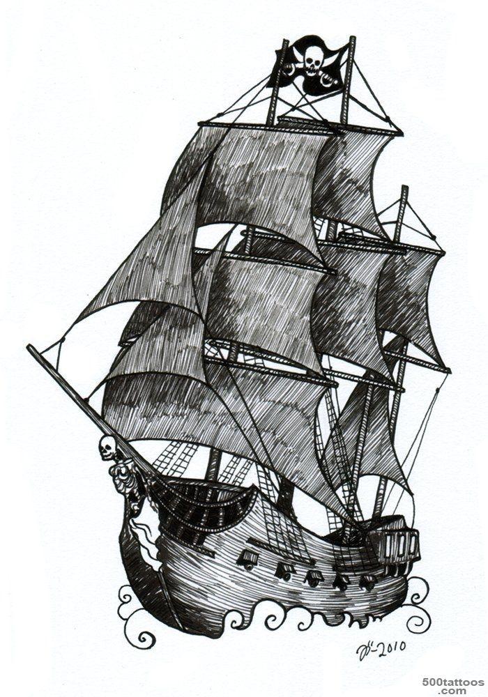 9+ Pirate Ship Tattoos Designs_50