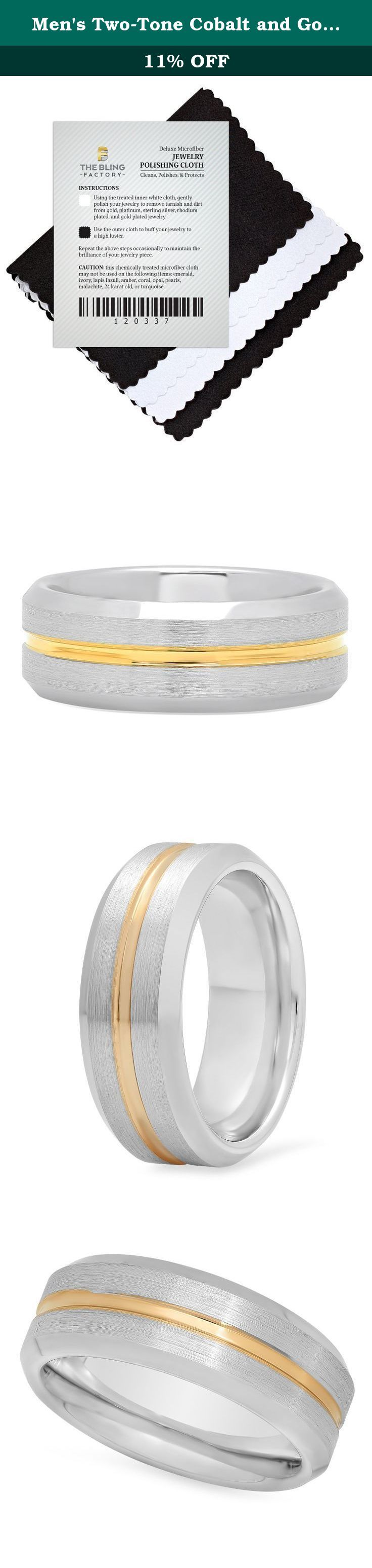 Men's Two-Tone Cobalt and Gold Plated 8mm Comfort Fit Wedding Ring, Size 15. This men's comfort fit band is composed of durable cobalt metal and features a high polished finish. It displays a smooth brushed center along with a yellow gold plated centered groove. This 8mm ring features beveled edges for a reflective shine.