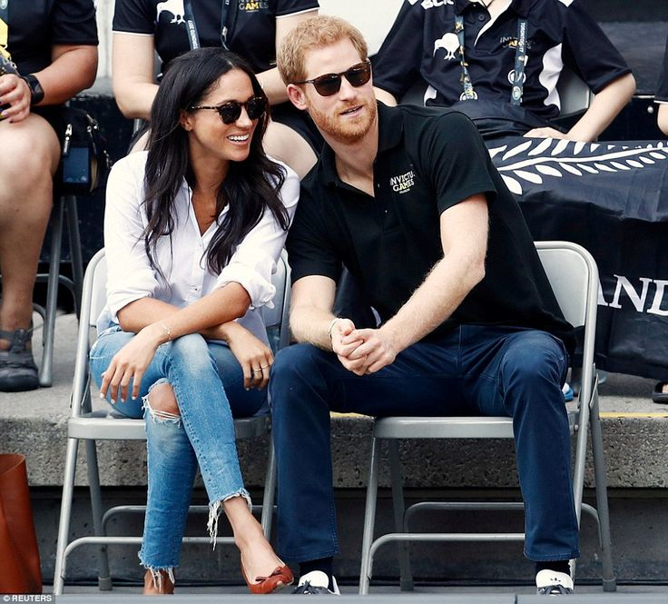 Meghan kept it casual for the all-important appearance, wearing ripped jeans believed to be from J Crew andSarah Flint 'Stella' flats