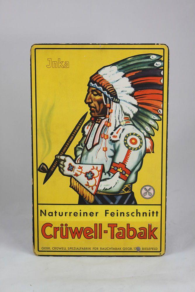Original Crüwell Tabak - Werbeschild - 38cm x 24cm - Reklame Schild - Aufsteller