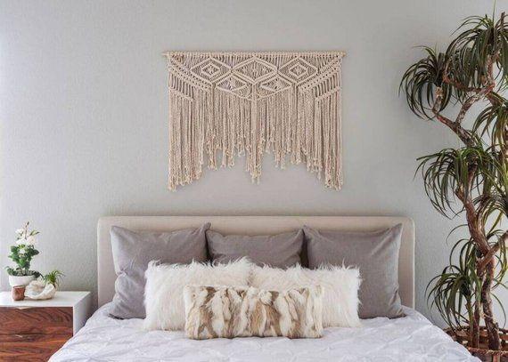 Large Macrame Woven Wall Hanging Tapestry BOHO Chic Bohemian Art Wall Home Decor