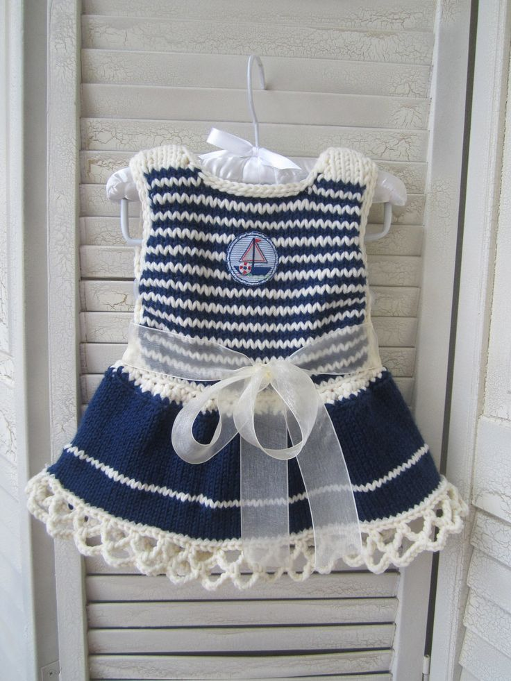 Knitted Baby Dress in Blue and White Navy Style by ZINULIS on Etsy