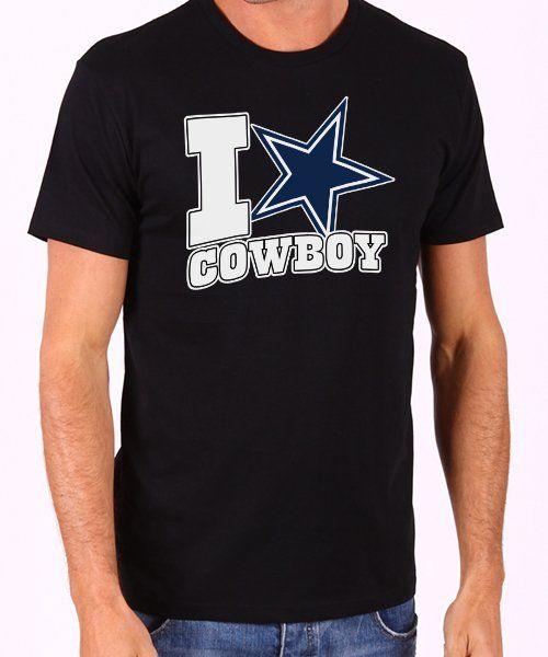 Dallas+Cowboys+NFL+I+Love+Cowboy+Men's+Black+T+Shirt