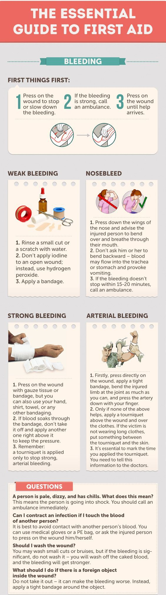 Control and Stop Bleeding - The Essential Guide. Save this guide to control bleeding at home, learn how to stop weak bleeding, nosebleed, strong bleeding and arterial bleeding. Stop severe hemorrhages with an israeli bandage: http://insidefirstaid.com/personal/first-aid-kit/what-is-and-how-to-use-israeli-bandage #bleeding #hemorrhage #emergencies
