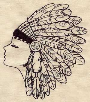 Native American Feather Headdress Embroidered Flour Sack Hand/Dish Towel. $14.99, via Etsy.