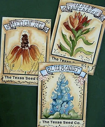 """Set of 3 ACEO Prints Texas Wildflowers """"Texas Seed Co."""" Bluebonnet Paintbrush Mexican Hat by Impressions of Texas, Ingleside, TX  $10"""