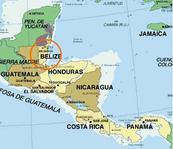 map of belieze | Map showing location of Belize