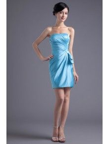 Satin Strapless Asymmetrical Short Gathered Ruched Cocktail Dress