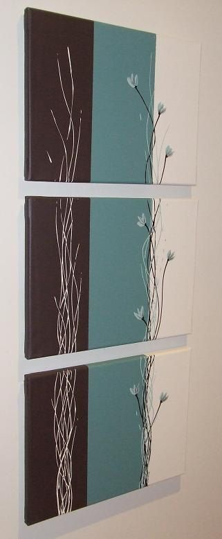 """Teal Green Chocolate Cream Silver Original Triptych Australian Floral Canvas Painting by """"ARTSOLUTELY"""" on Etsy, $199.90 AUD"""
