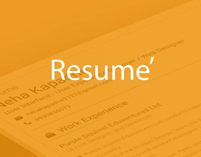 """Check out new work on my @Behance portfolio: """"UI/UX Resume Design"""" http://be.net/gallery/33737138/UIUX-Resume-Design"""