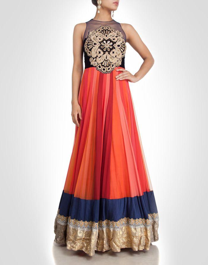 Multi-toned net gown embellished with zardosi & gota work. Shop Now: www.kimaya.in