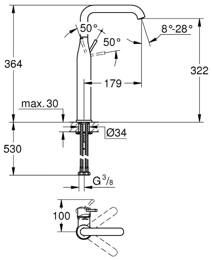 Grohe Essence New U-Spout XL-Size Basin Mixer Tap