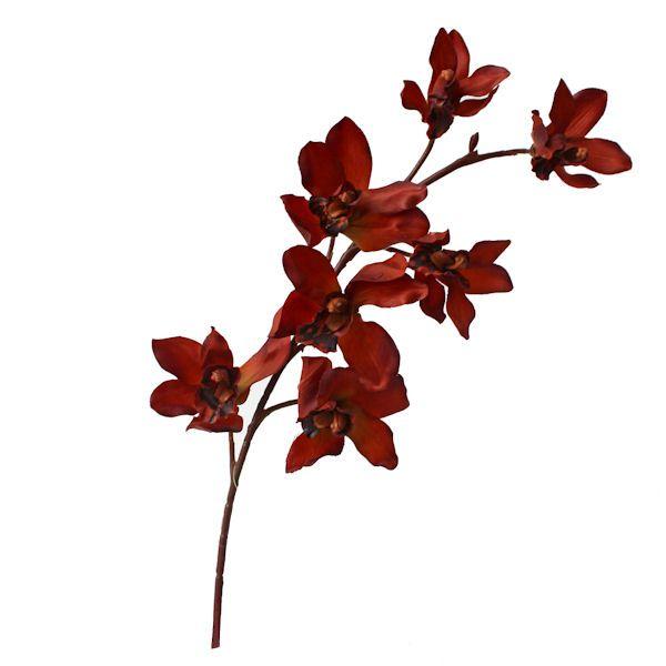 Fleur artificielle Orchidée cymbidium couleur rouille 28