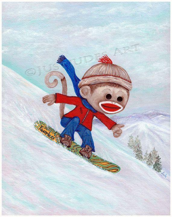 Fearless Sock Monkey snowboarding Cute Sock Monkey by JudesTinyArt