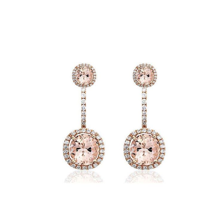 These elegant drop earrings are made form 18ct rose gold with morganite ... they glisten like the woman wearing them ... #love #bride #diamonds #jewels #gifts #presents #handmade