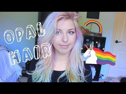DIY Opal iridescent pastel rainbow unicorn hair tutorial - YouTube