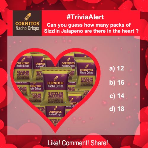 ‪#‎TriviaAlert‬ ‪#‎ValentinesWeek‬ Can you guess how many packs of Sizzlin Jalapeno are there in the  heart ?