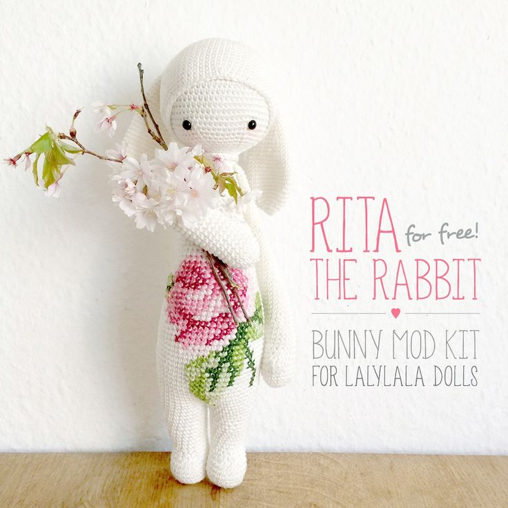 """for all of you, who already own one of the lalylala dolls patterns - get the free lalylala bunny crochet pattern kit """"RITA the rabbit"""" :) incl. easter eggs crochet instructions on www.lalylala.com"""