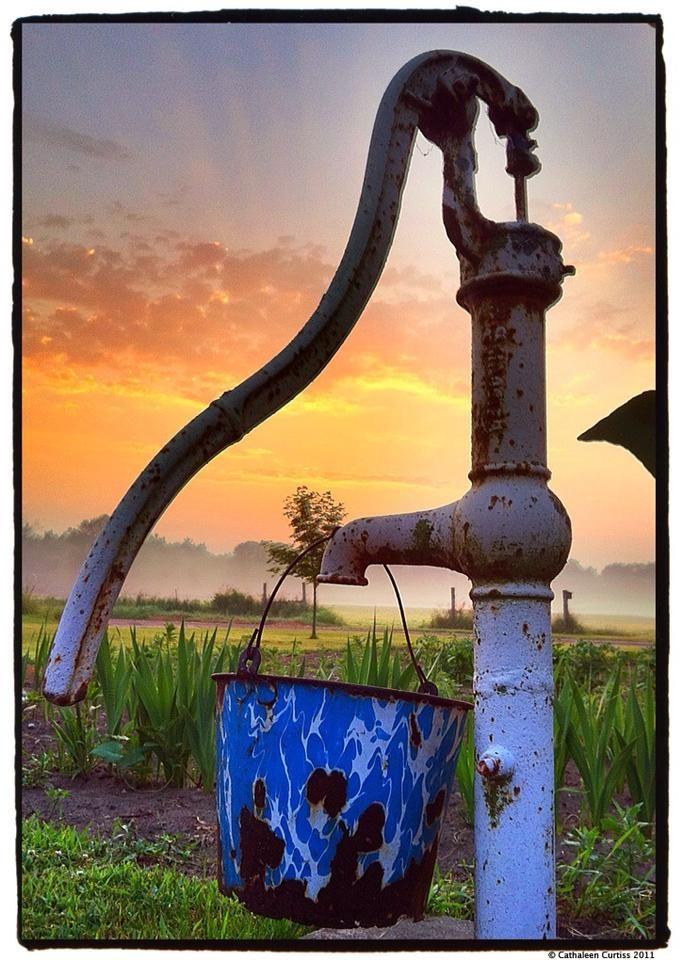 water pump and enamel bucket