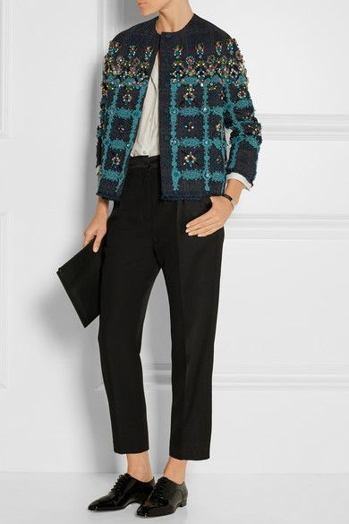 Biyan | Coco embellished lace-appliquéd tweed jacket | NET-A-PORTER.COM