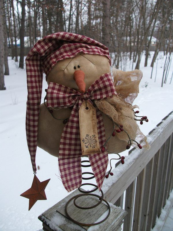 Primitive Christmas Winter Folk Snowman On Rusty Bed Spring