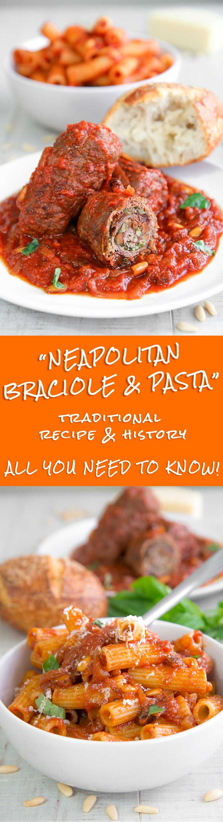 BRACIOLE NEAPOLITAN-STYLE recipe & history - all you need to know! - Braciole recipe Neapolitan-style is a dish that ran the history of the Southern-Italian cuisine! The ingredients of this delicious rolled meat come from the Ancient Greece, via the discovering of America and the French domination of the territory of Naples. The meat is filled with cured prosciutto, raisins, pine nuts, and cheese, then seared and slow cooked in a tasty tomatoes sauce! - traditional meal Italian family dinner