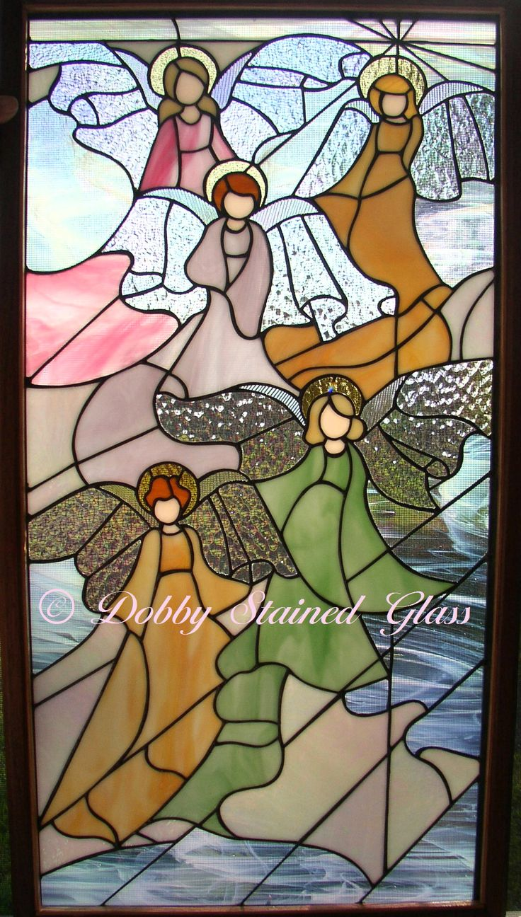 Stained Glass Panel - Five Angels