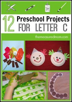 12 great preschool projects for letter C!  Both crafts and process art in this post.  My favorite is the cactus craft.