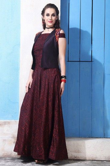 07e82e6e59 Garnet Red Chanderi And Cotton Embroidered Anarkali Gown - DMV12536 ...