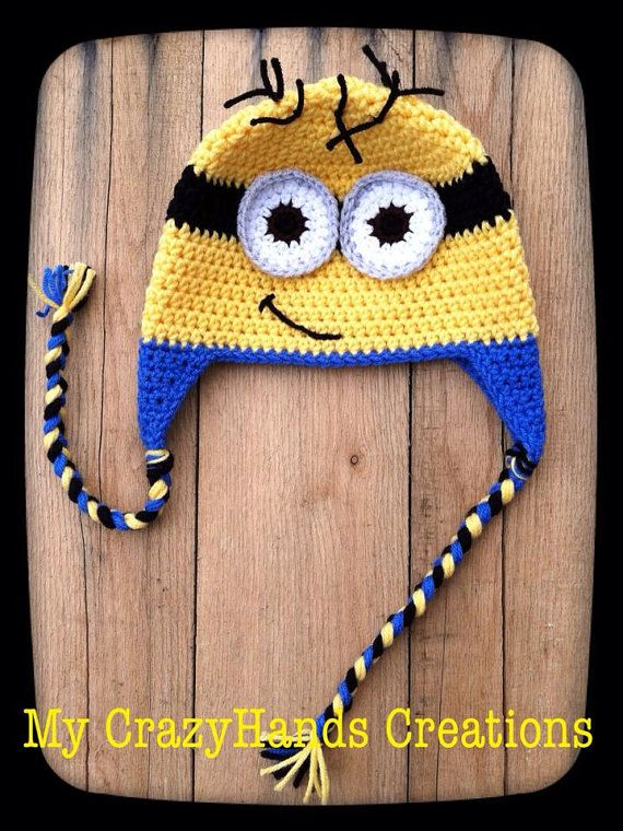 ****Made To Order****   Handmade crochet adorable minion hat, perfect for your little kid. Choose from having one or two eyes.     Please be sure to refer to the size chart and measure accordingly. Thanks so much!   Size chart:   Newborn fits up to 2 weeks old, perfect for the hospital or newborn pictures.  0-3 months fits 13-14  3-6 months fits 14-16  6-12 months fits 16-18 inches  12-3 years fits 18-19 inches  4-9 years fits 19-20.5 inches  teen fits 20.5-21.5 inches   **PLEASE SEE MY SHOP…