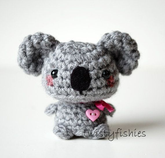 Baby Gray Koala Kawaii Mini Amigurumi Plush by twistyfishies