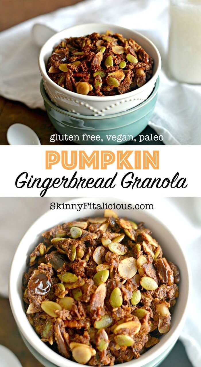 Taste the flavors of fall in this savory Pumpkin Gingerbread Granola. A delicious breakfast or healthy nutty snack! Grain Free, Gluten Free, Paleo, Vegan!