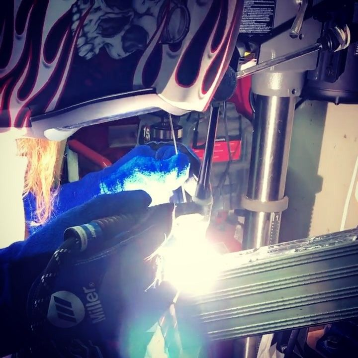 My garage had always been missing a crucial item not anymore!! #welding #garage #diy #aluminum #miller #tig #mig #ac #dc #210 #multiprocess