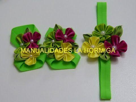 Balacas para bebes y pies descalzos flores pétalos kanzashi ,#519, Accesorios infantiles - YouTube