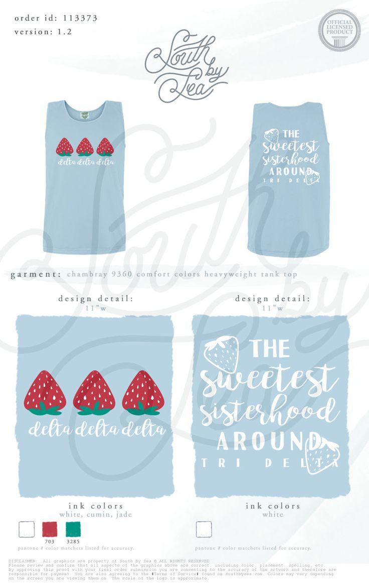 Design t shirt universiti - Tri Delta Strawberry Shirt Sweetest Sisterhood Around