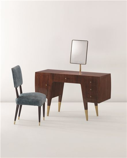 Gio Ponti; Rosewood, Brass and Glass Dressing Table by Giordano Chiesa for Casa Ceccato, 1950.
