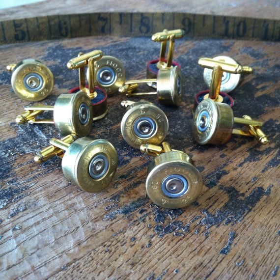 Wedding cufflinks shotgun set 6 pair groomsman by DieselLaceDesign, $90.00