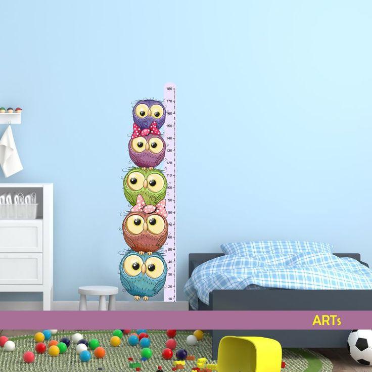 (3594f) Nálepka na stenu - Meter so sovičkami #artsablony #sovicky #sticker