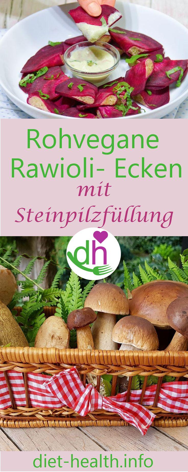 """diet & health info: rohvegane """"Rawiolis"""" aus haudünnem Rote-Bete-Mantel, gefüllt mit Steinpilzcreme! #vegan #plantbased #rawvegan #rohvegan"""