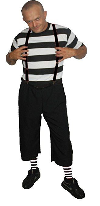 Mens Black & White Pugsley The Addams Family Halloween Fancy Dress Costume UK [UK Small/Medium,Pugsley Addams] by The Dragons Den