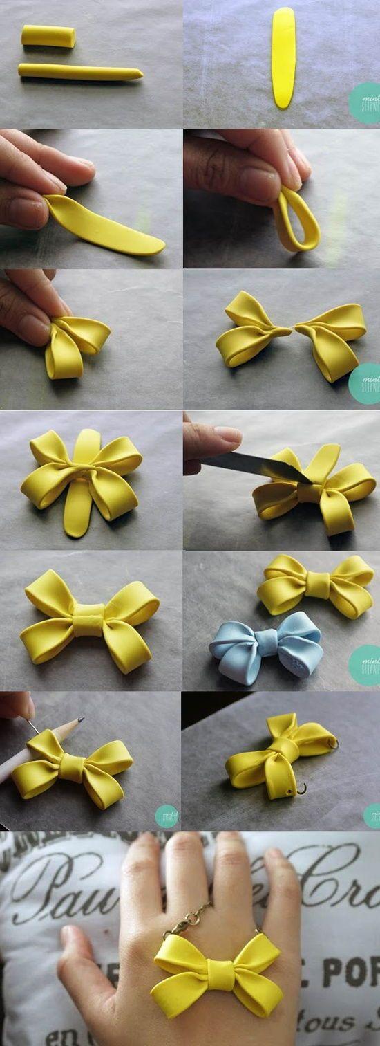 DIY Clay Double Bow Necklace DIY Projects | UsefulDIY.com Follow us on Facebook ==> https://www.facebook.com/UsefulDiy