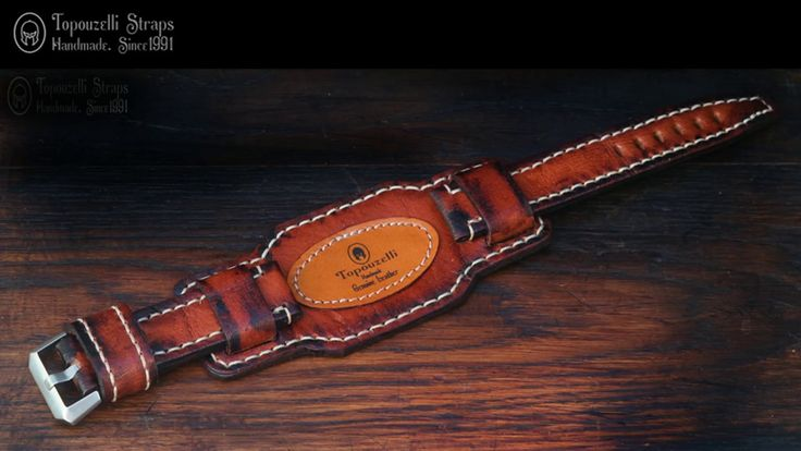 Leather watch strap, T 906. Handmade