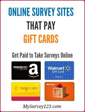 I have been taking online paid surveys for extra money since 2005, and this is a list of best legitimate online survey sites I found over the years, that reward you amazon or other gift cards(such as itunes, walmart, target) for taking market research online surveys.  http://mysurvey123.com