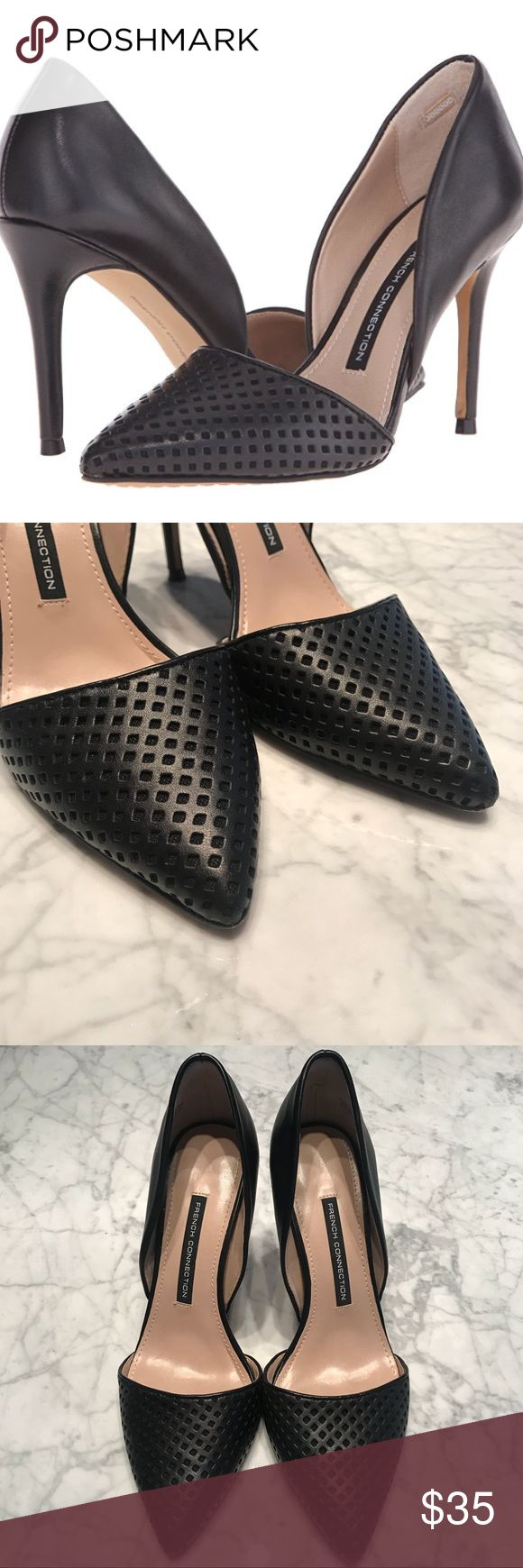 """French Connection d'Orsay Dress Pumps Sz 8 Diamond cutouts add a subtle textural element to a modern day 'Elvia Bin' d'Orsay pump shaped from smooth leather - 100% Sheep Napa - Leather upper/synthetic lining and rubber Sole - Heel Height: 3.75"""" - By French Connection  📦SHIPPING: I will ship out within 24 hrs  Thanks for shopping my closet!! French Connection Shoes Heels"""