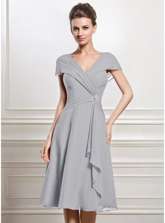 A-Line/Princess V-neck Knee-Length Chiffon Mother of the Bride Dress With Beading Sequins Cascading Ruffles