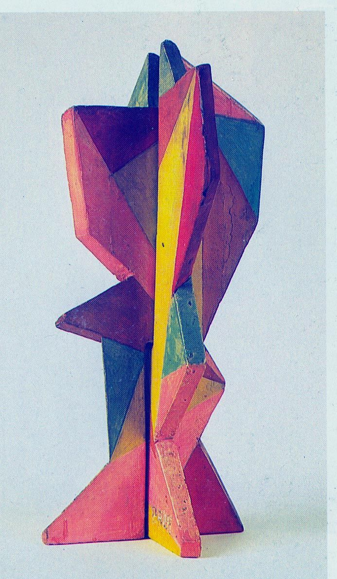 """Fiore futurista, 1918, bois peint. Giacomo Balla (1871-1958) was an Italian composer, sculture & painter. Influenced by Filippo Tommaso Marinetti, Giacomo Balla adopted the Futurism style, creating a pictorial depiction of light, movement and speed. He was signatory to the Futurist Manifesto in 1910, and began designing and painting Futurist furniture, also created Futurist """"antineutral"""" clothing."""